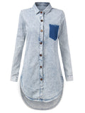 Women Irregular Hem Long Sleeve Turn Down Washed Denim Dress