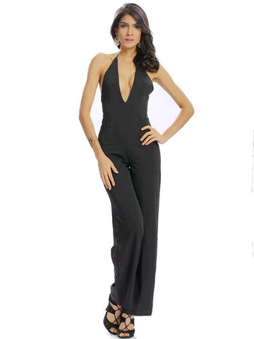 Women Casual Deep V Halter Backless Zipper Sleeveless Long Loose Jumpsuit