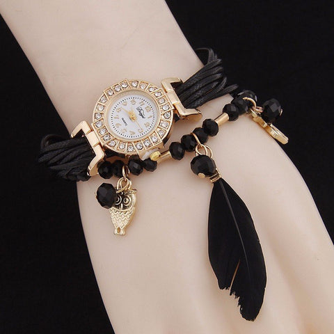 Beaded Feather Owl Bracelet Watch
