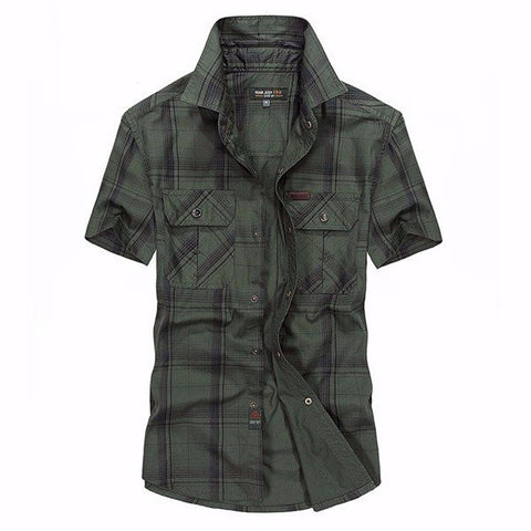Large Size Summer Mens Cotton Plaid Loose Fit Short sleeved Shirts