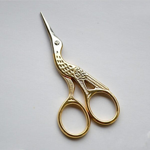Golden Vintage Style Crane Shaped Embroidery Sewing Eyebrow Scissors