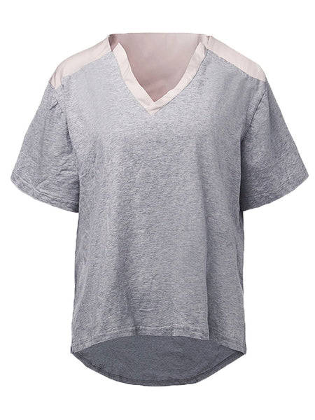 Casual Women Stitching Short Sleeve V Neck Pure Color Cotton Top