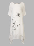 Vintage Ink Printed Loose Cotton Linen Two-Layer Dress For Women