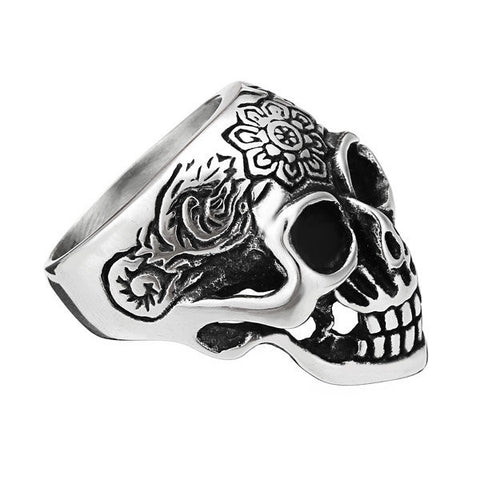 Punk 316L Stainless Steel Silver Skull Ring