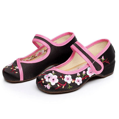 Girls Chinese Silk Embroidered Flower Flat Children Dancing Shoes Casual Footwear