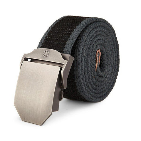 125cm Men Casual Outdoor Canvas Belt Thickening Alloy Buckle Pants Strip - shechoic.com