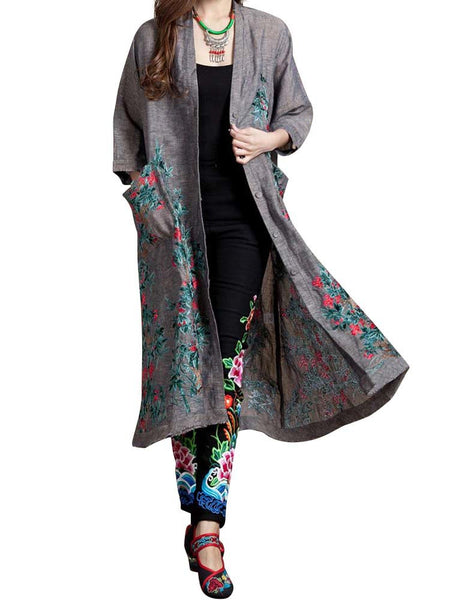 Women Ethnic Wind Embroidered Long Sleeve Thin Cardigan Coat