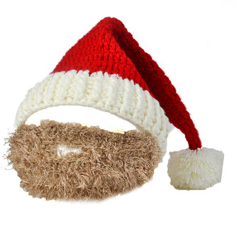Men Women Christmas Bearded Hat Handmade Knitted Hat Mask Party Clothing Accessories Gifts