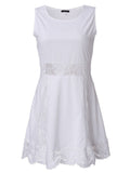 Women Lace Pelpum Sleeveless Casual Pleated Dress