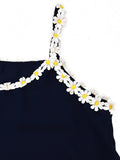 Women Strap Sexy Flower Embroidery Chiffon Tank Top