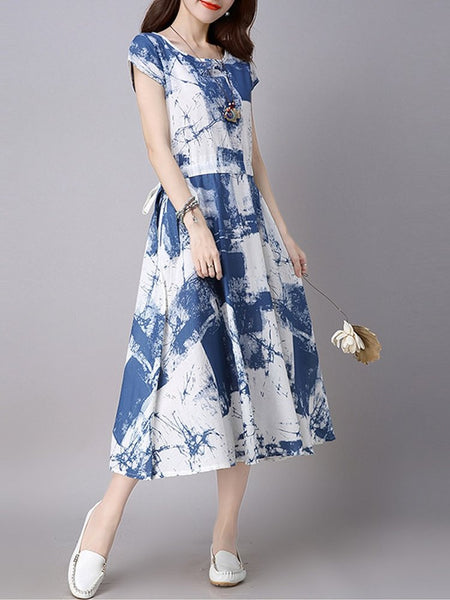 Vintage Mori Girls Floral Cotton Linen Party Midi Dress For Women