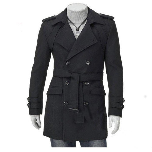 Men's British Style Overcoat Thickened Woolen Double Breasted Slim Fit Long Coat