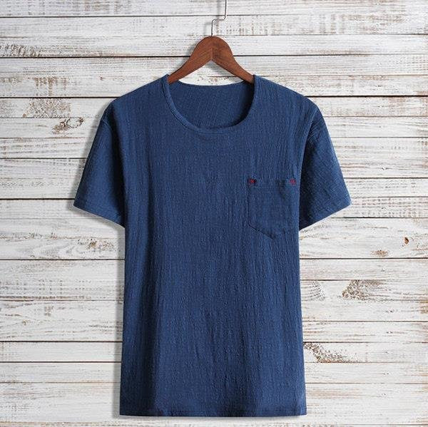 Plus Size Mens Summer Retro Cotton Linen Loose Pocket Short Sleeved Casual T-shirts