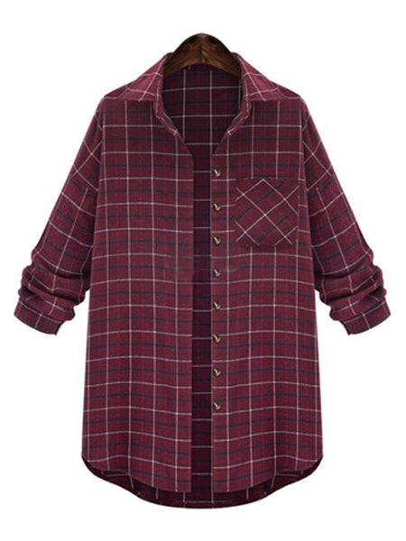Casual Plaid Printed Pocket Long Sleeve Lapel Women Blouse