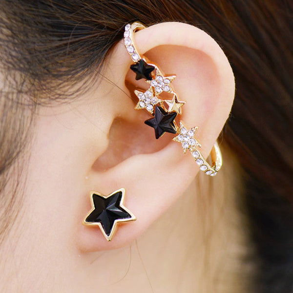 Gold Plated Inlaid Crystal Star Stud Clip Earrings