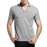 Polo Elastic Turn-down Collar Solid Colour Mens Summer Cotton Short Sleeves T-shirt