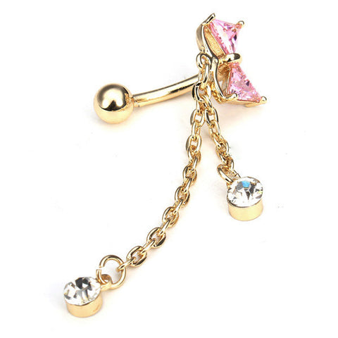 Bowknot Crystal Bow Belly Ring Body Piercing