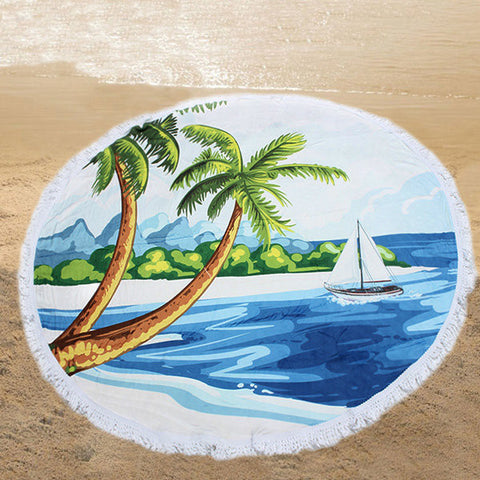 150cm 3D Coconut Tree Printing Microfiber Beach Towel Soft Quick-drying Round Tassels Blanket