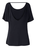 Women Short Sleeve O Neck Backless Pure Color Casual T-shirt