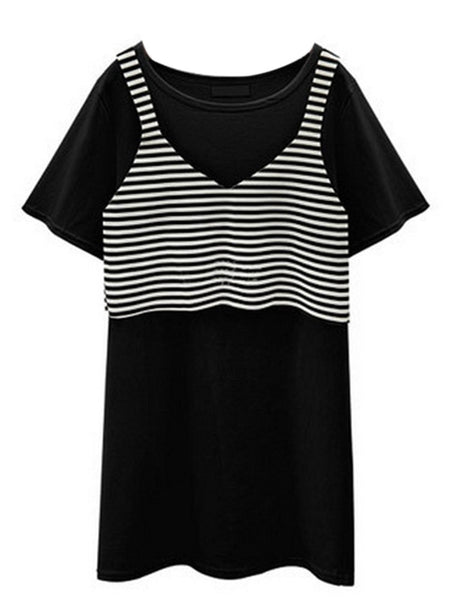 Women Round Neck Short Sleeve Striped Vest Tank Two Pieces Mini Dress