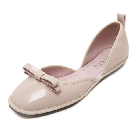Egg Roll Butterflyknot Slip On Hollow Out Flat Folded Shoes