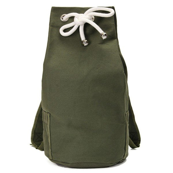Men Women Canvas Casual Bucket Draw String Large Capacaity Backpack