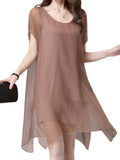 Elegant Pure Color Elastic Loose Two Layers Dress For Women