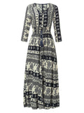 Women Floral Print Summer Beach Boho Maxi Dress