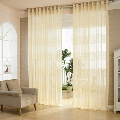 2 Panel European Style Jacquard Breathable Punching Voile Sheer Curtains Window Screening