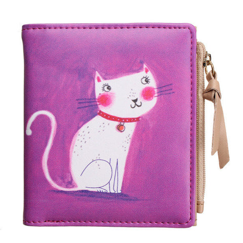 Cute Cat Women Leather Short Wallet