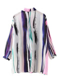 Women 3/4 Sleve Lapel Colorful Stripe Loose Blouse