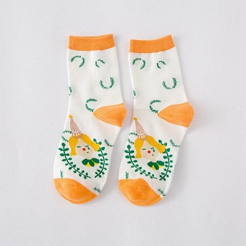 Cute Cartoon Pattern Cotton Art Illustration Creative Long Sox