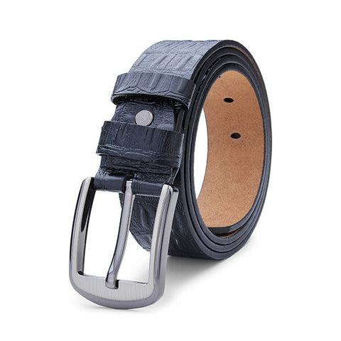 120cm Personal Gentleman Crocodile Genuine Leather Pin Buckle Alligator Strip Waist Belt - shechoic.com
