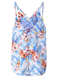 Women Strap Backless Floral Printed Split Sexy Tank Top Summer Beachwear