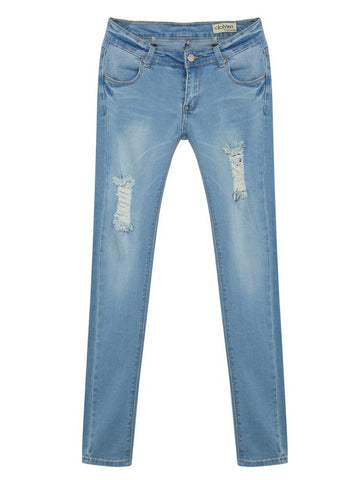 Mid Waist Slim Vintage Denim Jean For Women