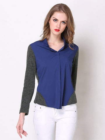 Casual Loose Wool Stitching V Neck Long Sleeved Blouse For Women