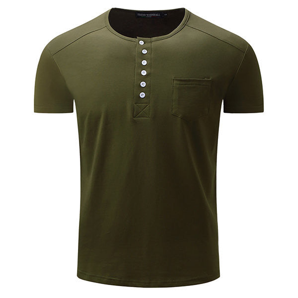 Mens Summer Cotton Buttons Solid Color Short Sleeve O-neck Casual T-shirt