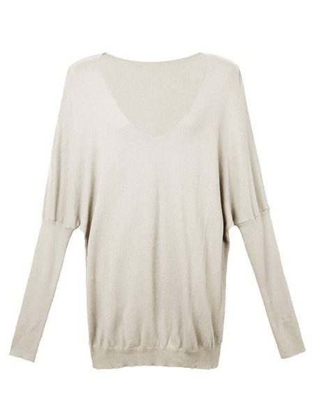 Casual Women Plus Size V Neck Bat Sleeve Pullover Sweater