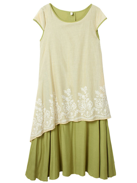Vintage Embroidery Short Sleeve High Low False Two-Piece Dress