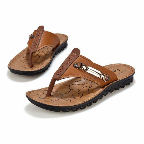 Men Metal Clip Toe Slip On Beach Flip Flops Slippers