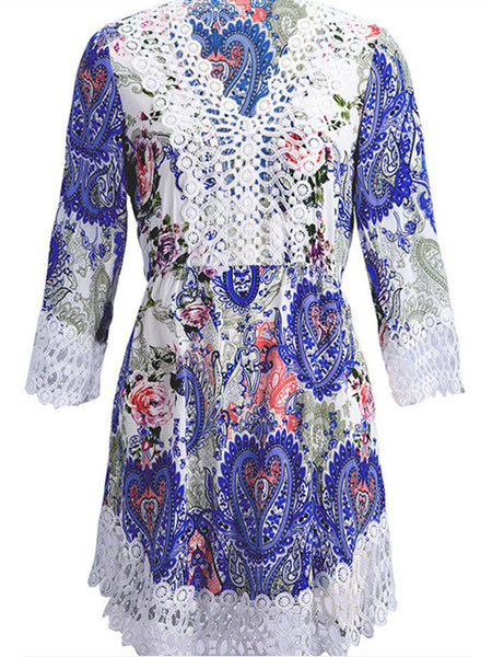 Women 3/4 Sleeve V Neck Floral Printed Lace Crochet Hollow Mini Dress