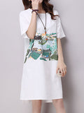 Women Short Sleeve O Neck Printing High Low Vintage Dress