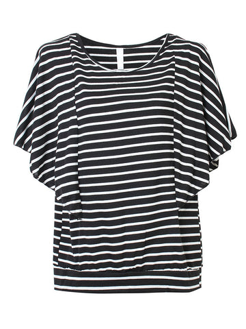 Casual Stripe Batwing Sleeve T-shirt For Women