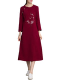 Chinese Style Floral Printed Long Sleeve Dress For Women