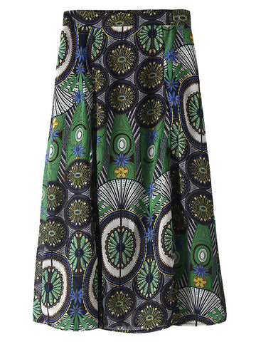 Elegant Women Floral Printed Long Pleated Skirt