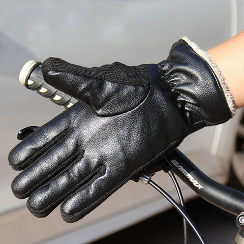 Men's PU Leather Thick Warm Outdoor Riding Bicycle Gloves Motorcycle Electric Car Gloves