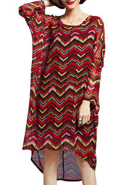 Women Long Sleeve Printed High Low O Neck Chiffon Dress