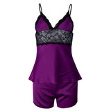 Women Sexy Silk-like V Neck Nightdress Set Embroidered Lace Spaghetti Strap Sleepwear