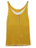Women Sleeveless Solid False Two-piece Patchwork Tank Top