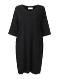 Women Short Sleeve Pure Color Side Split Loose Shirt Dress